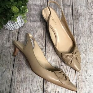 TALBOTS Pointed Bow Toe Nude Sling Back Sh…